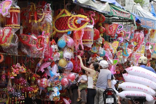 Cả một con phố Lương Nhữ Học rực rỡ với các loại lồng đèn