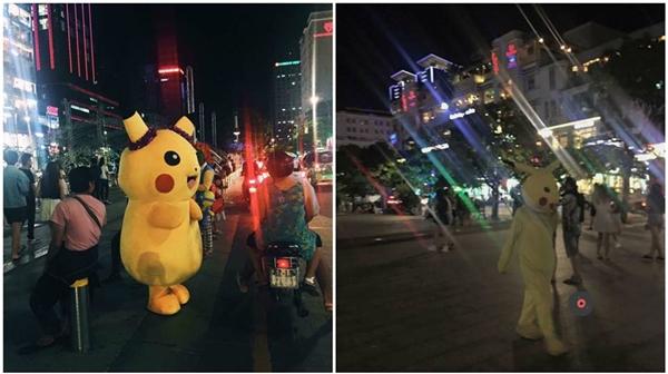 Trước vàsau mùa bắt pikachu tại phố đi bộ.