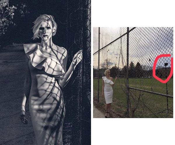 Nhìn ảnh hậu trường không ai ngờ được rằng nó có thể góp phần tạo nên một bức ảnh trắng đen tương phản đẹp đến như vậy.