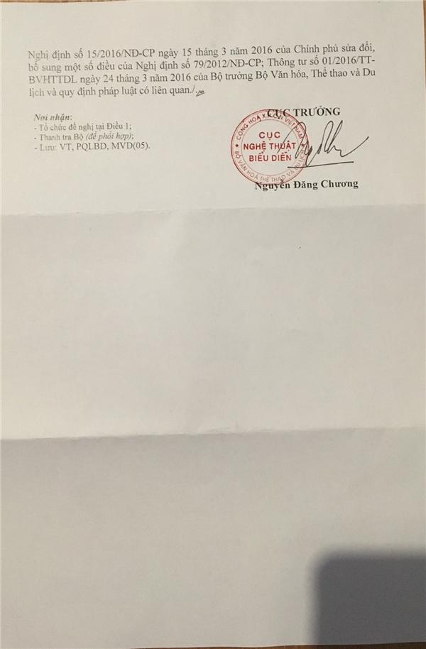 Giấy phép số 312/GP-NTBD cấp ngày 12/9/2016 cho phép thí sinh Nguyễn Thị Lệ Nam Em tham dự cuộc thi Hoa hậu Trái đất 2016.