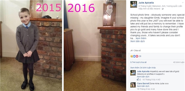 Bức ảnh được Julie chia sẻ trên trang facebook khiến nhiều người xúc động. Ảnh chụp màn hình