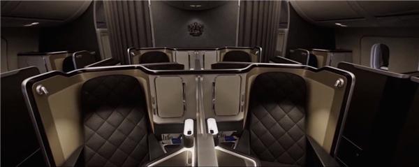 Khoang hạng nhất của hãng hàng không British Airway trên chiếc 787-9 Dreamliner có điểm nhấn là màn hình TV 23 inch với điều khiển cảm ứng trang bị ở ghế ngồi. (Ảnh: Business Insider)