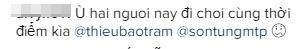 Một số bình luận của fan đã đặt nghi vấn Sơn Tùngvà Thiều Bảo Trâm đang bí mật hẹn hò vởi Bangkok. - Tin sao Viet - Tin tuc sao Viet - Scandal sao Viet - Tin tuc cua Sao - Tin cua Sao