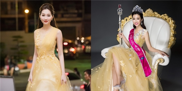 Phom váy của Mỹ Linh nhanh chóng được mang ra so sánh với mẫu thiết kế mà Hoa hậu Việt Nam 2012 Đặng Thu Thảo diện tại đêm chung khảo miền nam Hoa hậu Việt Nam 2016. Từ phom xòe đến chất liệu của 2 bộ váy đều tương đồng, điểm khác biệt duy nhất nằm ở cầu vai trái của thiết kế.