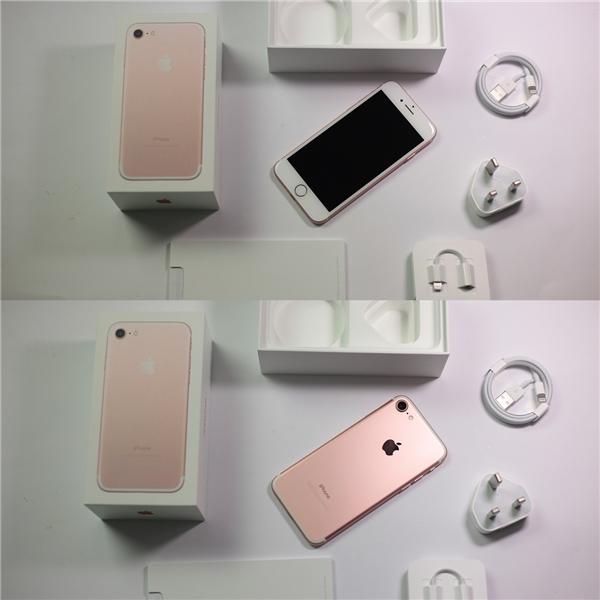 Mặt trước và sau iPhone 7 cùng các phụ kiện đi kèm trong hộp bao gồm: sách hướng dẫn, que chọc sim, củ sạc, cable truyền dữ liệu, tai nghe và jack chuyển cắm tai nghe 3.5mm