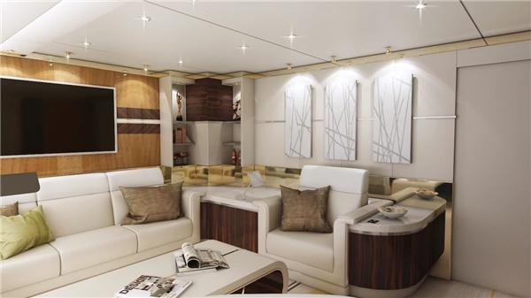 Chiếc phi cơ riêng Boeing 747-8 VIP được cho là ông hoàng của những chiếc phi cơ riêng. Với diện tích lên đến 444 mét vuông, chiếc phi cơ này có đủ mọi phòng, từ phòng họp, phòng thư giãn, văn phòng đến phòng ăn cao cấp. Đây là chiếc máy bay dài nhất và rộng nhì trên thế giới.(Ảnh: Business Insider)