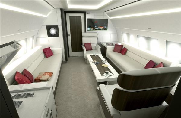 Đây là hình ảnh của chiếc Airbus ACJ319 với sức chứa8 người. Nó là chiếc máy bay thương mại rộng và cao nhất trong phạm vi liên lục địa.(Ảnh: Business Insider)