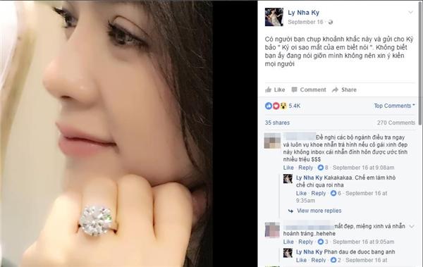 Choáng với chiếc nhẫn kim cương trị giá trăm tỉ của Lý Nhã Kỳ