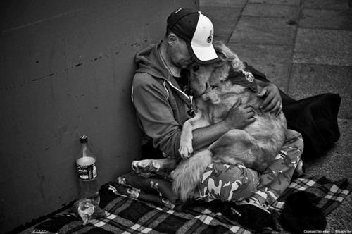 Có thiếu thốn nhường nào cũng không thể làm thay đổi tình cảm giữa người chủ và chú chó của mình. Một hình ảnh khiến trái tim mỗi chúng ta đều thổn thức.