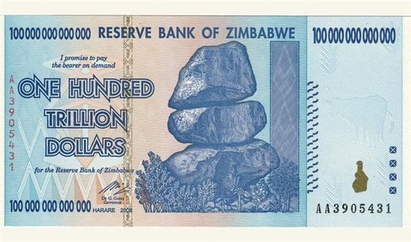 Tờ tiền mệnh giá100 nghìn tỷ đô la Zimbabwe.