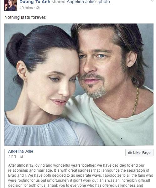 """Á hậu Tú Anh đăng tải bài viết từ Angelina Joliethông báo cô chính thức ly hôn và viết: """"Nothing lasts forever"""" (Chẳng có gì kéo dài mãi). - Tin sao Viet - Tin tuc sao Viet - Scandal sao Viet - Tin tuc cua Sao - Tin cua Sao"""
