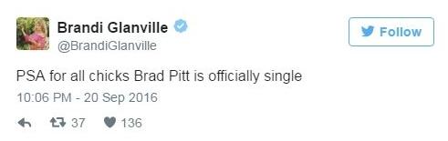 """Nữ diễn viênBrandi Glanville: """"Thông báo tới các em gái: Brad Pitt bây giờ chính thức là đàn ông độc thân rồi nhé"""". - Tin sao Viet - Tin tuc sao Viet - Scandal sao Viet - Tin tuc cua Sao - Tin cua Sao"""