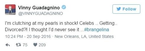 """Ngôi sao truyền hìnhVinny Guadagnino: """"Tôi quá sốc! Không thể tin nổi! Brangelina ly dị ư? Tôi cứ nghĩ chuyện đó không thể xảy ra..."""". - Tin sao Viet - Tin tuc sao Viet - Scandal sao Viet - Tin tuc cua Sao - Tin cua Sao"""