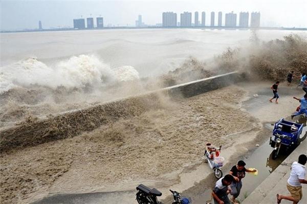 """Cảnh tượng du khách chạy toán loạn khi """"quái vật"""" sông Tiền Đường ập vào bờ."""