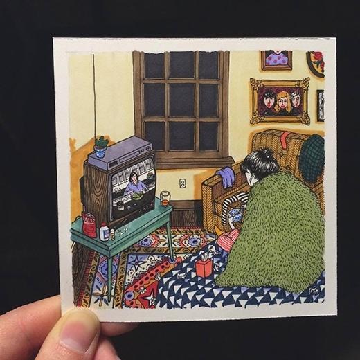 Con gái mà ở một mình thì chỗ nào trong nhà cũng trờ thành giường ngủ.