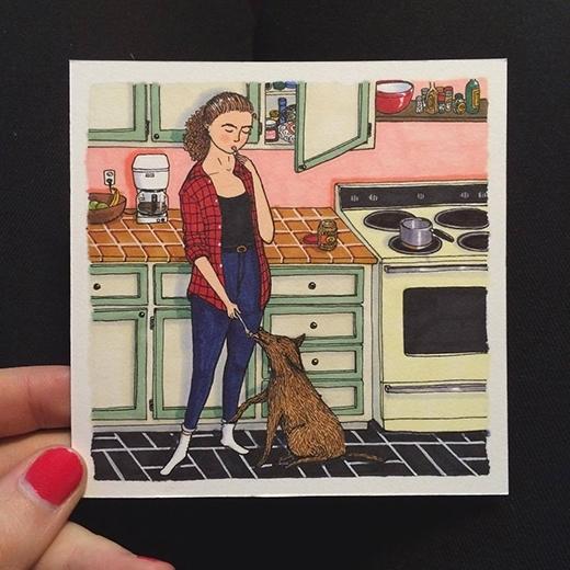 """Chú chó cưng bỗngtrở thành """"bạn ăn"""" mình một muỗng chó một muỗng."""
