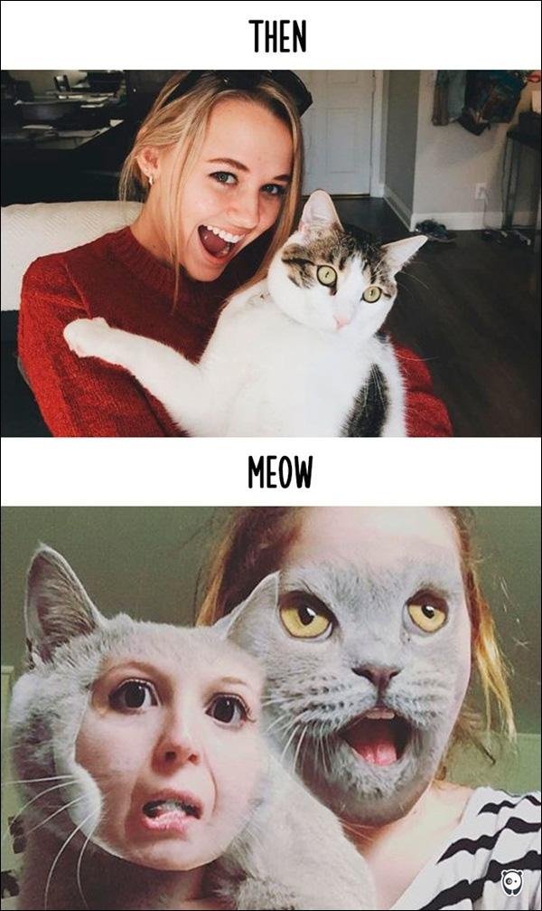 """Kiểu selfie hởi lợi hở răng cũng xưa quá rồi, mô đen bây giờ là kiểu """"mèo hóa người, người hóa mèo"""" nhé."""