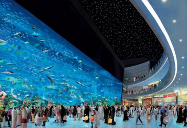Hồ cá siêu khổng lồ ở tòa nhà đẳng cấp thế giới.(Ảnh: Internet)