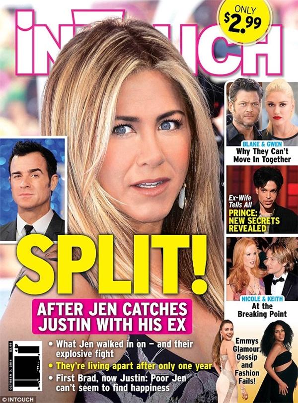 Tờ InTouch đăng tải thông tin cuộc hôn nhân của Jen và ông xã đứng trên bờ vực tan vỡ. Ảnh: InTouch.