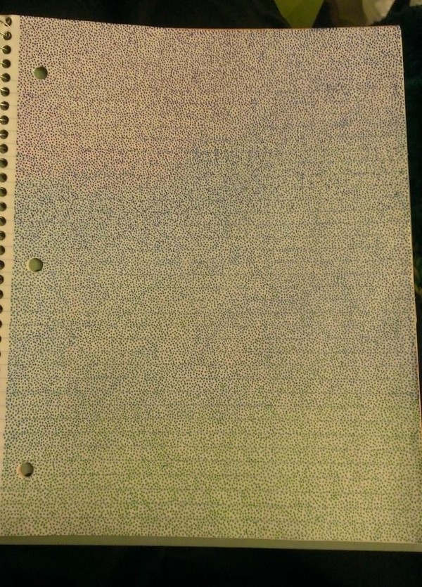 Ai đã từng dùng bút phủ kín trang giấy bằng những chấm tròn như thế này thìquảthật đáng khâm phục bởi mức độ kiên nhẫn.