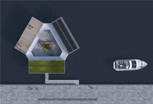 6 thùng container được xếp lại theo hình tam giác để tạo thành một tổ hợp ký túc xá 12 phòng