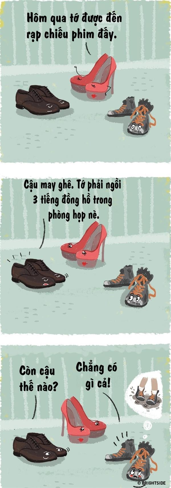 """""""Cho dù có là giày dép thì khi gặp chuyện xấu hổ,tôi cũng có quyền được ngại ngùng và che giấu chứ bộ!""""."""