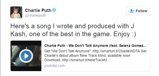 Charliekhông hề nhắc đến tên của Selena khi chia sẻ bài hátlên Twitter.
