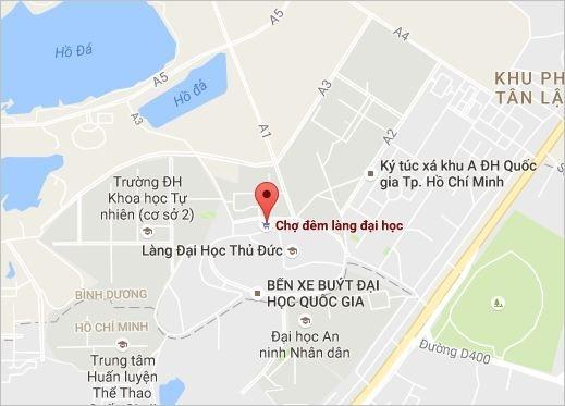 Chợ đêm làng Đại học Quốc gia TP.HCM được định vị trên bản đồ. (Ảnh: chụp màn hình)