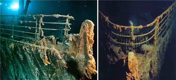 Mũi tàu Titanic có thiết kế vòng cung.