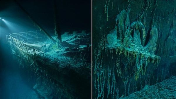 Hình ảnh mũi tàu và mỏ neo sau hơn 100 năm ngủ sâu trong lòng đại dương.