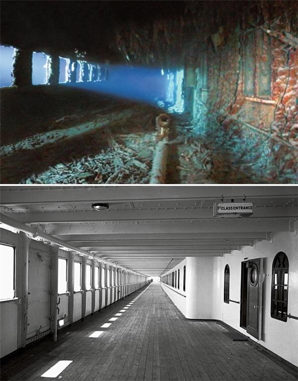 Khó có ai tin được hai hình ảnh này đều làhành lang khoang hạng nhất trên tàu Titanic.Triệu phú John Jacob Astor IV, người giàu nhất trên tàuđã đưa người vợ Madeleinecủa mình xuống xuồng cứu hộ số 4 thông qua một cửa sổ ở dọc hành lang này. Còn ông đã ở lại trên tàu và chấp nhận số phận nghiệt ngã.
