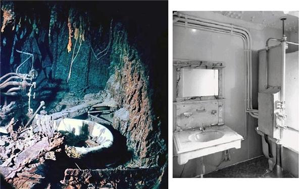 Hình ảnh đổ nát của một phòng tắm trong một cabin trên tàu sau đại nạn năm 1912.