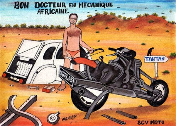 Hình ảnhEmilevới những dụng cụ thô sơ chế tạo thành công chiếc mô tô được vẽ lại và đăng tải trên một diễn đàn về ô tô