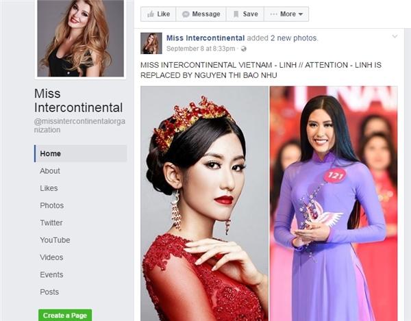 """Ngày 8/9 vừa qua, fanpage Miss Intercontinental từng đăng tải hình ảnh Trúc Linh -Top 5 Hoa hậu Hoàn vũ Việt Nam2015 với tư cách thí sinh đại diện của Việt Nam tại Hoa hậu Liên lục địa 2016. Tuy nhiên, đến ngày 13/8, trang này đã chỉnh sửa bài viết thành: """"Lưu ý, thí sinh Trúc Linh đã được thay thế bằng Nguyễn Thị Bảo Như"""". - Tin sao Viet - Tin tuc sao Viet - Scandal sao Viet - Tin tuc cua Sao - Tin cua Sao"""