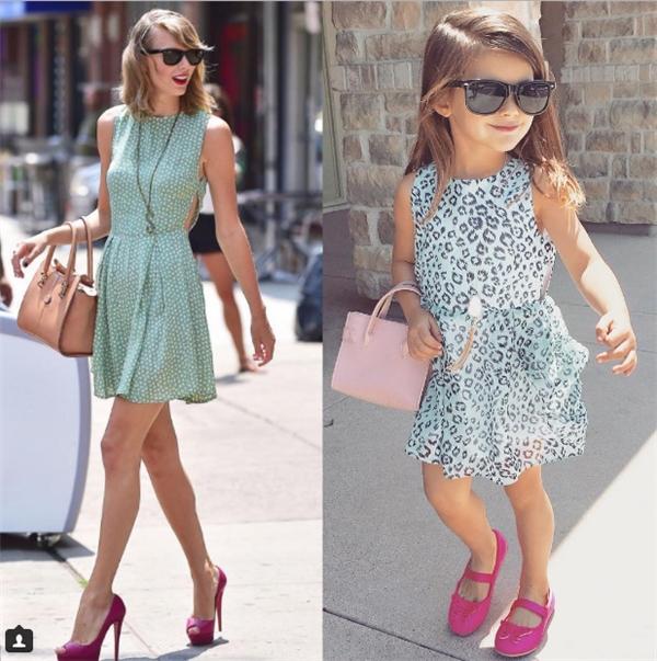 Cô chị Isabella cũng biết diện kính mát đen, giày hồng và túi màu nude để ton-sur-ton trông không khácTaylorphiên bản nhí.