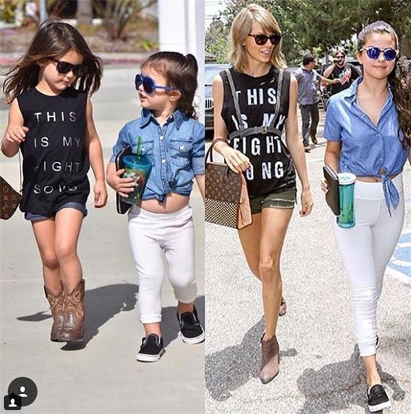 Isabella và Scarlett có style ăn mặc giống với hai nữ ca sĩ Taylor Swift và Selena Gomez.