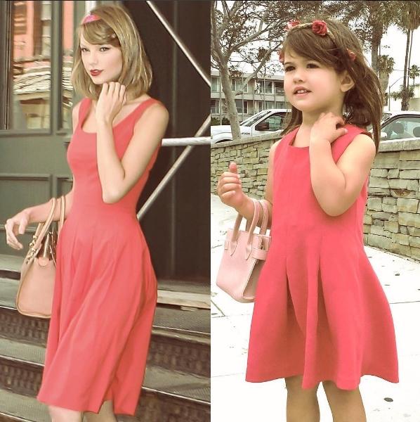 Cô em Scarlett thì sành điệu hơn khi diện chiếc váy có thiết kế y hệt với chiếc váy của Taylorvới điểm nhấn là băng đô cài hoa trên tóc.
