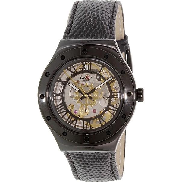 Swatch Originals YAB100 -Mạnh mẽ với dây da và sắc đen cá tính, mặt số họa tiết trẻ trung với độ chống nước 30m có giá 5.060.000 đồng.