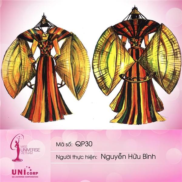 Thí sinh lớn tuổi nhất - Nguyễn Hữu Bình mang đến bộ quốc phục với ý tưởng nón lá, hình ảnh cố đô Huế, màu sắc lễ hội vui tươi thay cho hình ảnh trầm mặc vốn có của Huế.
