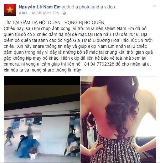 Nam Em sử dụng cả trang cá nhân và fanpage Miss Earth Vietnam để mong tìm lại được chiếc váy.