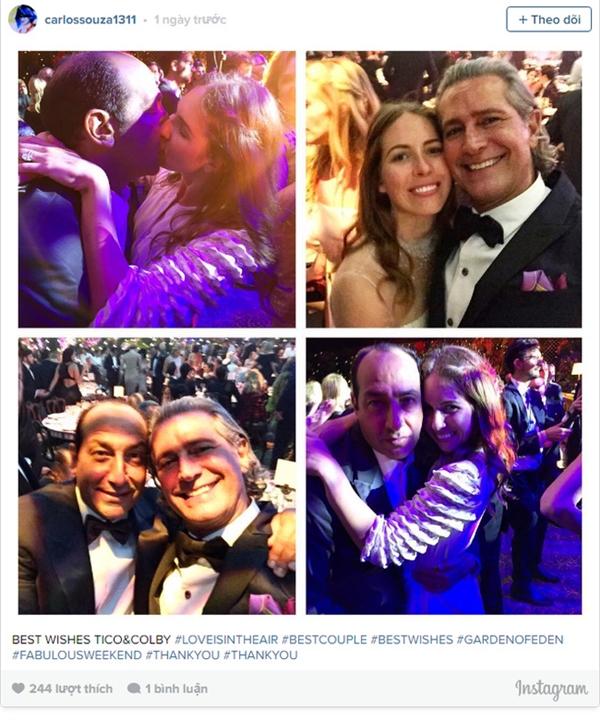 Cô dâu chú rể chụp ảnh cùng khách mời, đại sứ thương hiệu Valentino Carlos Souza.
