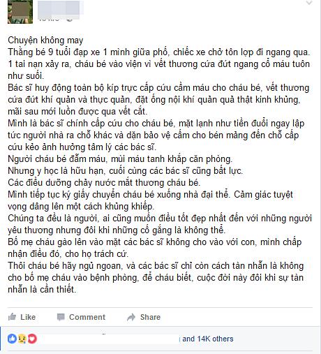 Lời chia sẻ đẫm nước mắt của bác sĩ Dương Đức Hùng - người cấp cứu chính cho cháu bé 9 tuổi bị tôn cứa cổ ở Hà Nội ngày 23/9 vừa qua.