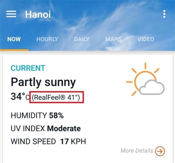 Độ ẩm thấp cùng nhiệt độ cao khiến cho cái nóng cảm thấy như 41-42 độ C