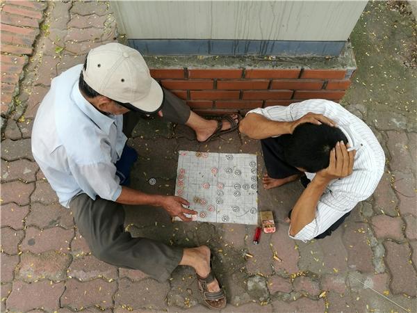 Do trời nắng nóng,các bác tài xế xe ôm cũng vắng khách, tìm chỗ râm mát ngồi chơi cờ cho qua ngày