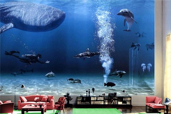 Phòng khách gắn liền với một bể bơi khổng lồ nuôi nhiều loài sinh vật biển quýhiếm. Bill Gates còn đảm bảo sao cho chúng được sinh sống trong điều kiện lí tưởng nhất và không làm hại lẫn nhau.