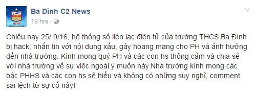 Lãnh đạo trường THCS Ba Đình sau khi phát hiện sự cố, đã làm báo cáo gửi Phòng GD&ĐT quận, UBND quận, Sở GD&ĐT Hà Nội cũng như trình báo với cơ quan công an địa phương.