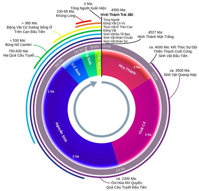 Biểu đồ thời gian lịch sử Trái Đất. (Ảnh Wikipedia)