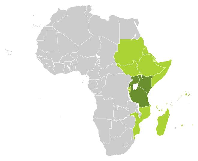 Khu vực Đông Phi trên bản đồ thế giới.
