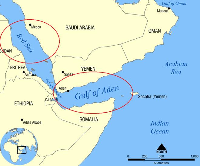Biển Đỏ và Vịnh Aden trên bản đồ (khoanh tròn đỏ).