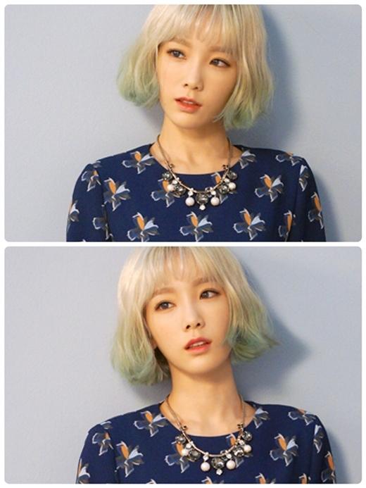 Bạn cũng có thể phá cách bằng việc nhuộm màu sáng và uốn nhẹ như Taeyeon thế này.